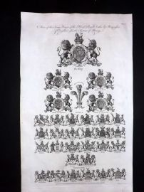 Hall 1791 Antique Print. Coat of Arms of King, Princes of England. Heraldry 01